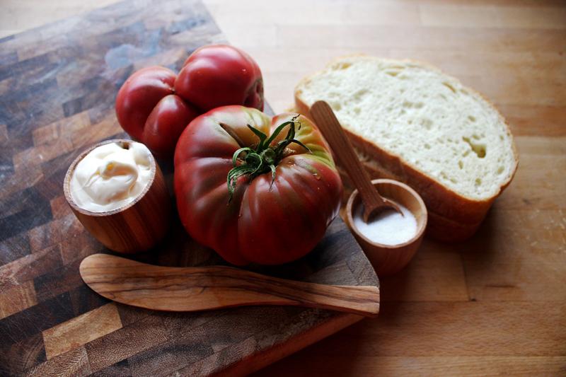 The ingredients: white bread, Purple Cherokee tomatoes, mayonaise, salt.