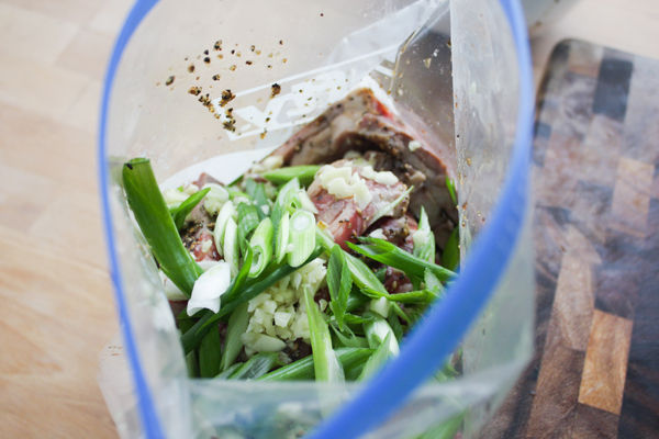 Put all of it in the bag with the ribs and marinade, spreading everything around so the ribs are evenly covered.