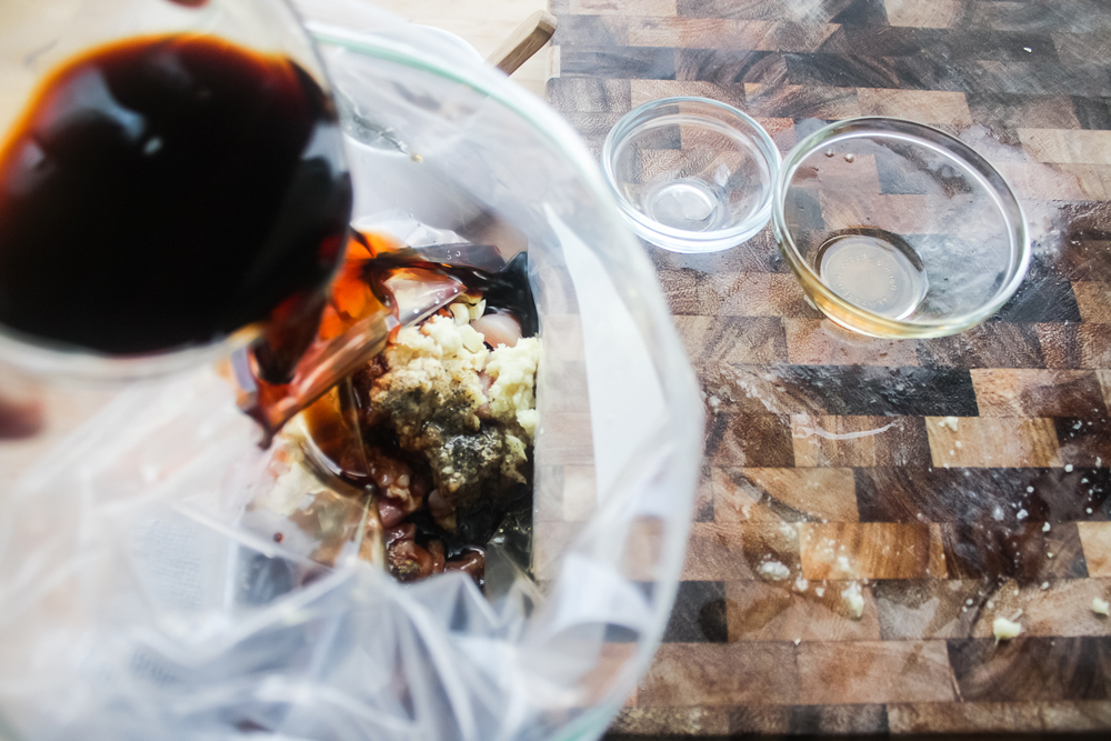 Add all of the ingredients to a ziplock bag, remove the air and seal, then massage the marinade until everything is evenly incorporated. Keep in the fridge for at least an hour, up to four hours.