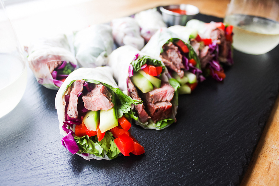 Either eat as a whole roll or cut in half to serve as an appetizer.