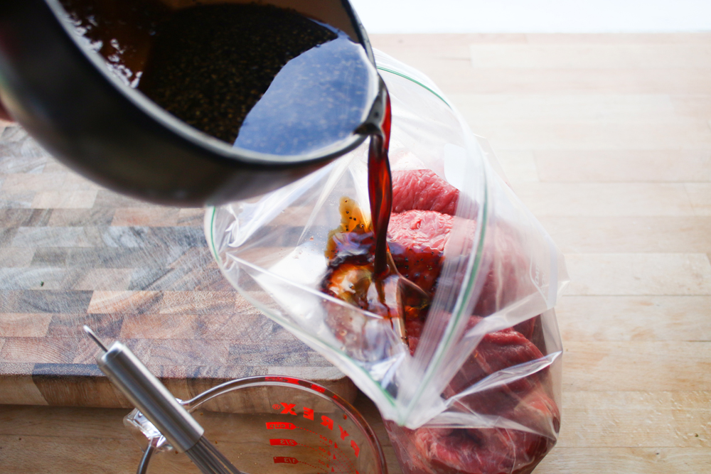 Put the round tip and marinade in a Ziplock bag. Using this method (instead of putting the roast in a pan) means that you don't have to use as much marinade, and the roast will even get coated. Squeeze the air out and seal the bag. Leave in the fridge for at least 12-24 hours.