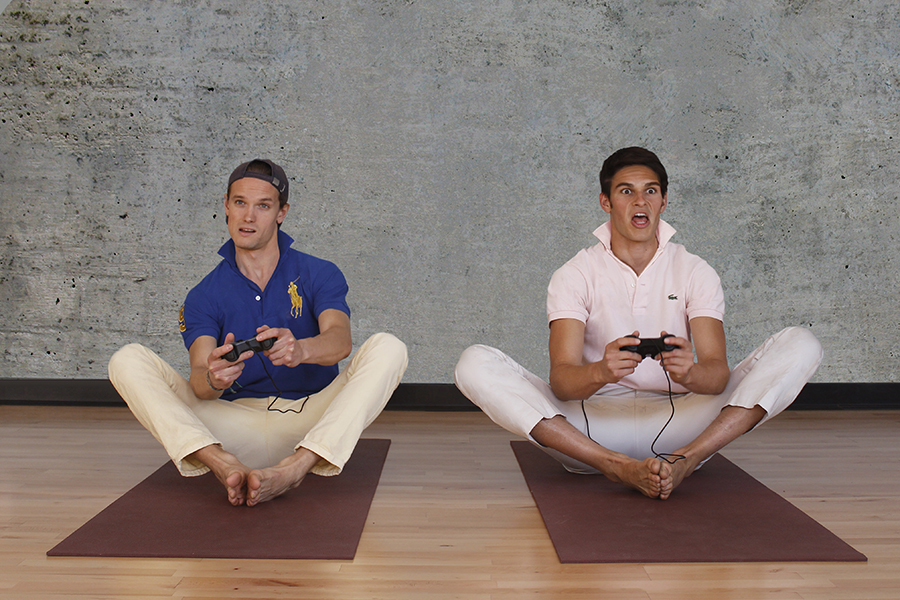 Video Gamekasana   Sit in front of large screen with the bottoms of your feet touching and your knees bent. Turn on X-Box and pick up controller. Inhale. Exhale. Show those motherfuckers who's boss.
