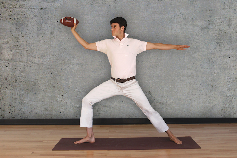 Linebacker II   Face the side wall, and bend your front knee. Hold a football in your front hand and raise your arms. Stand at the ready. When you see a passing freshman, chuck the football at them with your Payton Manning-like skill.