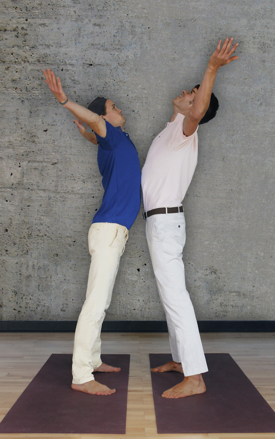 """Chest Bump Moon   Turn to this pose when the emotions you can't express overwhelm you. It is best done with a partner. Facing your partner, reach your arms to sky, back bend slightly, and bump your chest against his saying, """"No homo"""" as you do."""