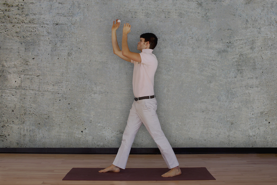 Beer Pong Lunge   Pick up a ping-pong ball, and step one foot forward. Inhale and sweep your arms to the sky. Toss the ball, and watch it land in your competitor's cup. Whoop loudly, and immediately transition into Chest Bump Moon Pose.