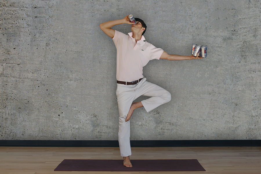 Shotgunasana   Stand tall on one leg with a six pack in one hand and your free foot resting on your inner thigh. Puncture a beer, then pound the shit out of it.