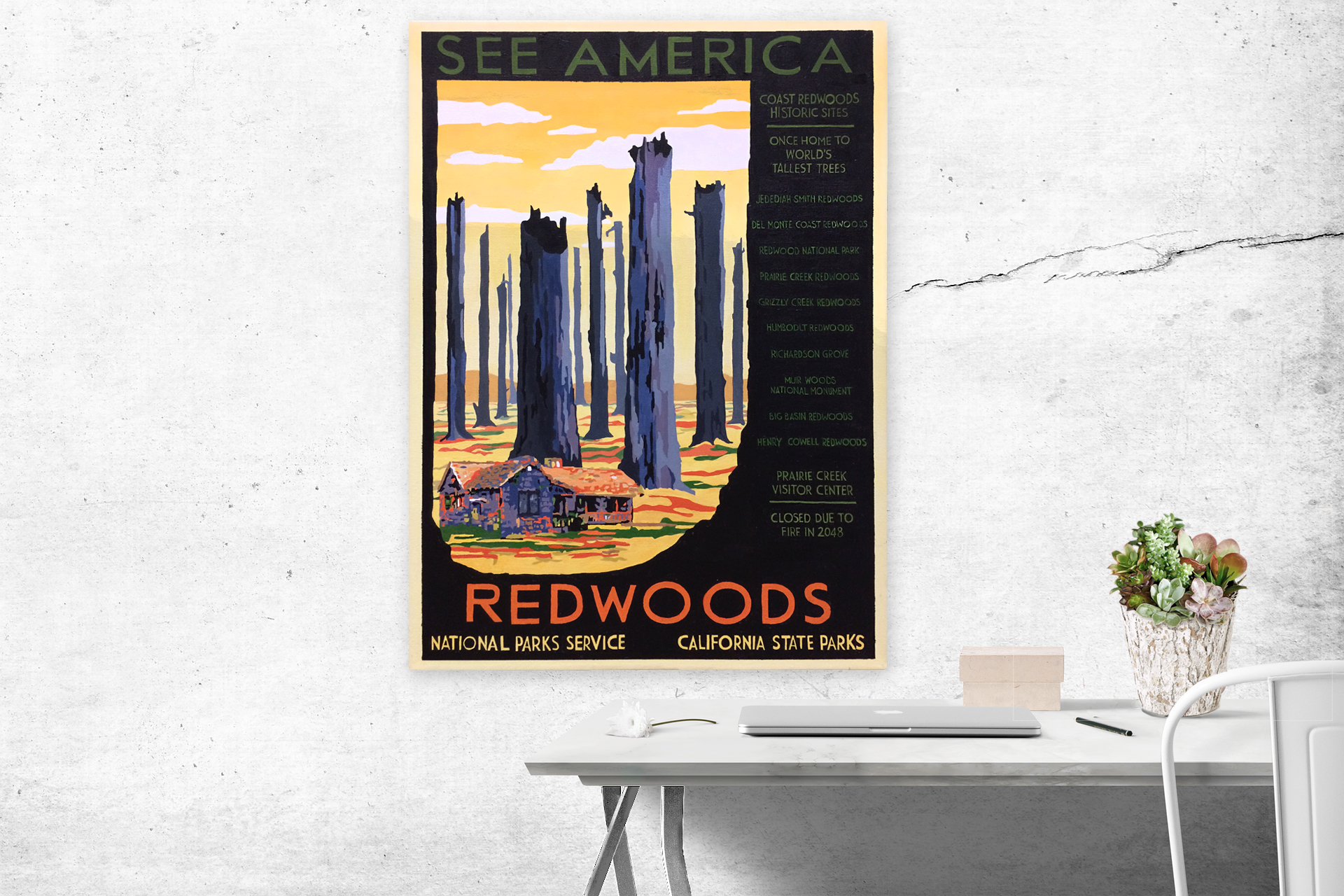 """National Parks 2050: Redwoods . 20"""" x 28"""". Acrylic on canvas."""