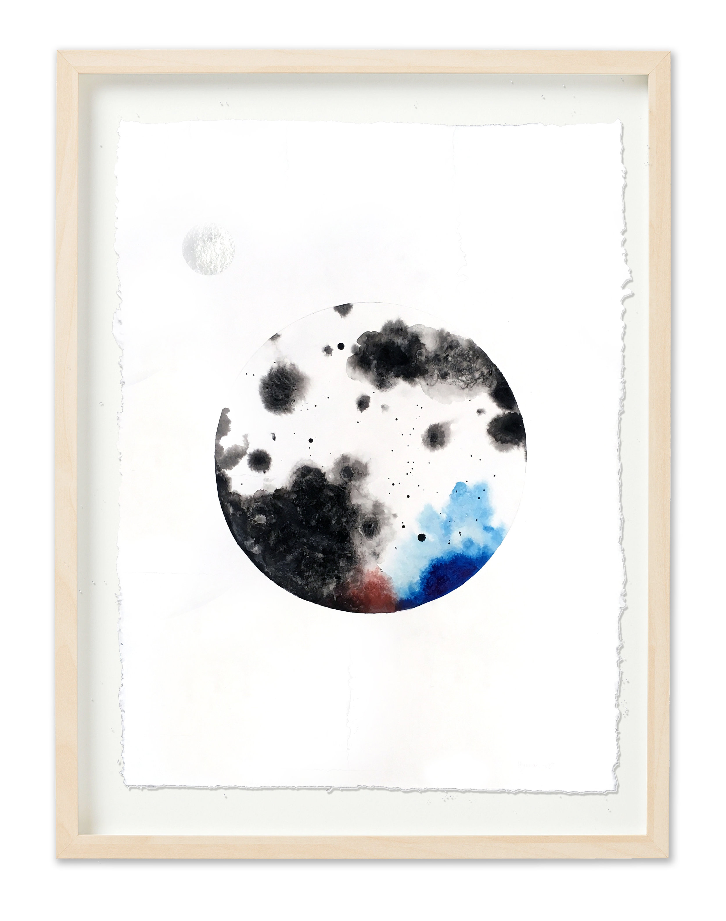 Framed Big Moon with black sienna and blue and silver moon.jpg