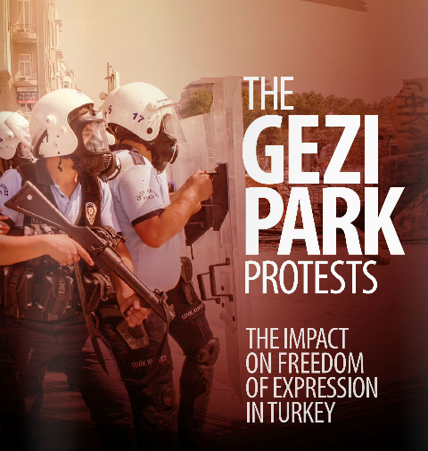 In the Gezi Park Portests: the impact of freedom of expression in Turkey, PEN assess the violations of the right to freedom of expression and assemby during the 2012 protests, detailing numerous examples of intimidation, judicial harassment and violence against writers and journalists. (2013) Courtesy: PEN American Centre.