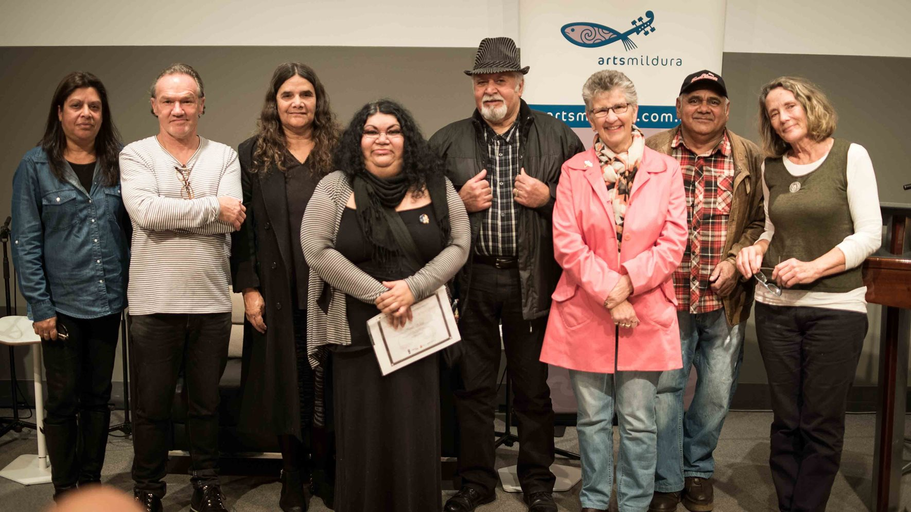 The second Mildura Indigenous Writers Award presentation (left to right):  Narelle Baxter, Tony Birch (Presenter), Patricia Sistergirl Johnson, Sianlee Harris,    Brian Hunt,   Sandra Stewart (Elder), Patrick Lawson and   Chris McKenzie (PEN Melbourne).