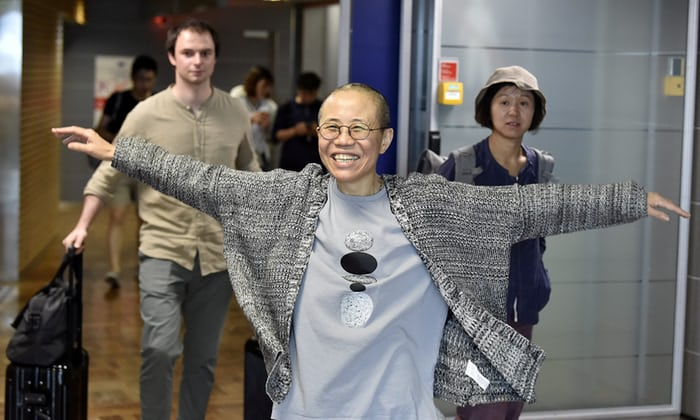 Liu Xia, the widow of Chinese Nobel peace prize-winning political dissident Liu Xiaobo, arrives in Europe. Photograph: Lehtikuva/Reuters