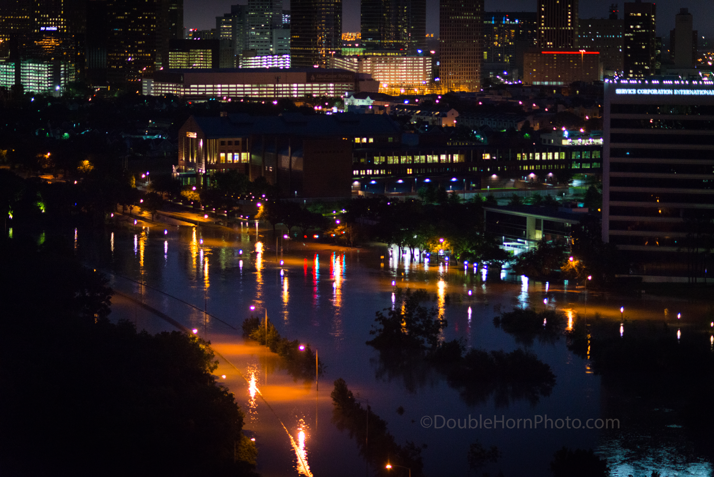 This is what the flood looked like right before dawn of May 26, 2015.