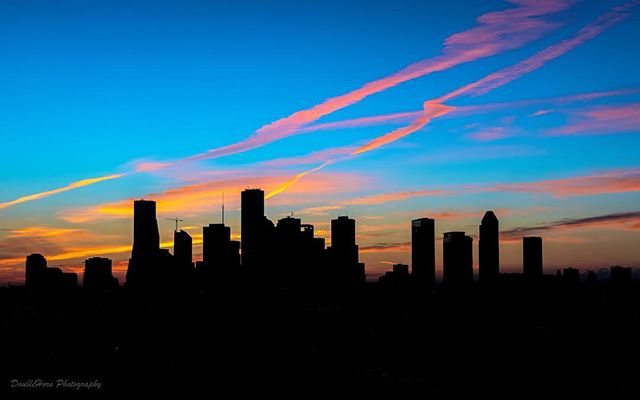 Fall and Spring sunrises are my favorites — they come up right behind downtown Houston, and put on a gorgeous show almost every morning.