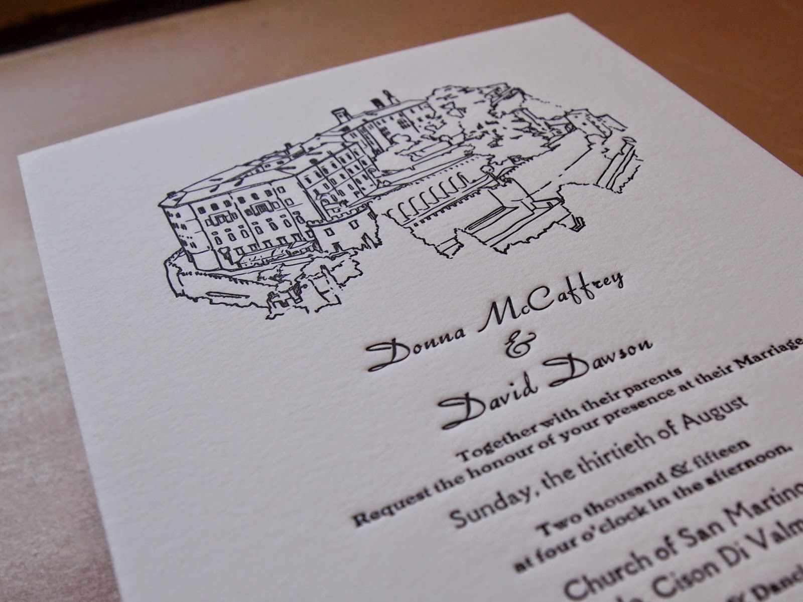 Hand drawn illustration with hand set text on Cranes Crest 600gsm.