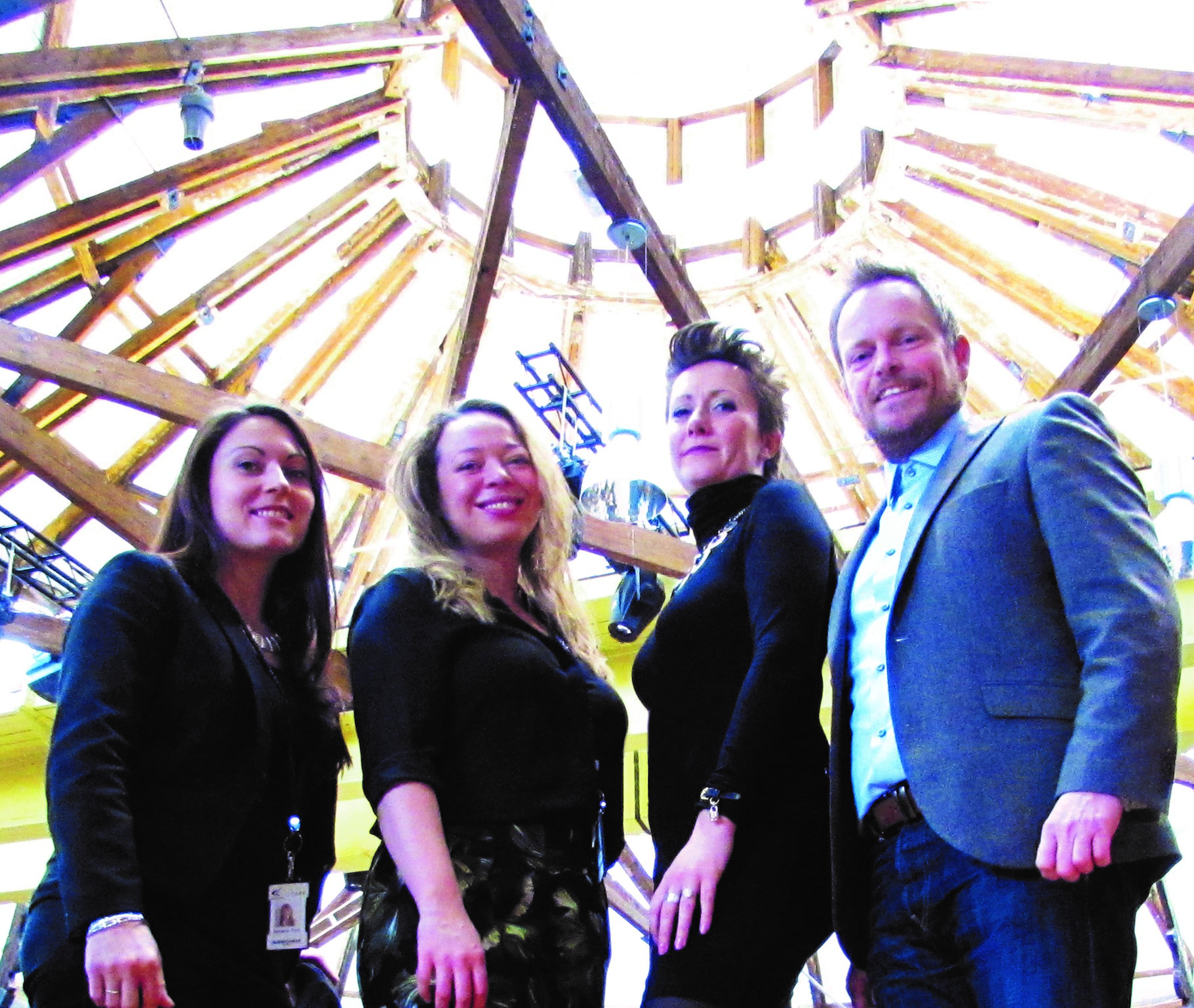 From left to right: Rebekah Ford and Laura Wilkinsonfrom Roundhouse Events with DE22 Creative Directors Gemma Lovett and Martin Griffiths.
