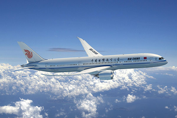 An artist impression of an Air China Boeing 787-9 Dreamliner aircraft.