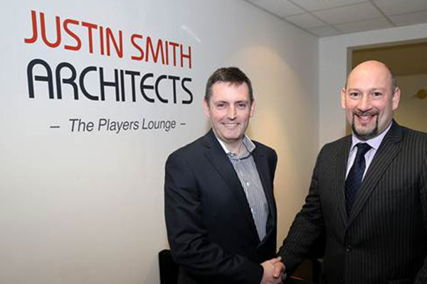 Justin Smith (left) pictured with Sam Rush (right) in front of the Players' Lounge at the iPro Stadium