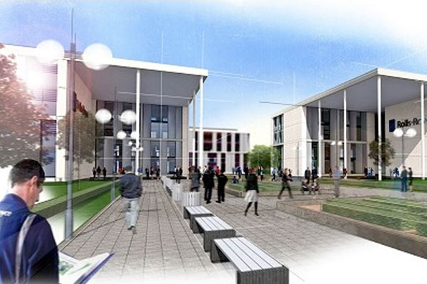 An artist's impression of Rolls-Royce's proposed aerospace campus