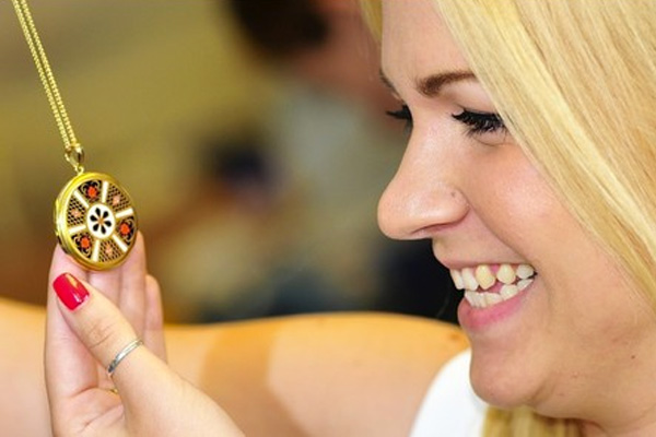 Rebecca Sellors, with one of her Royal Crown Derby creations