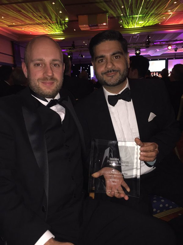 Lee Smith and Steve Basran collect the  Practice of the Year Award  at the  Insider West Midlands Property Awards 2015