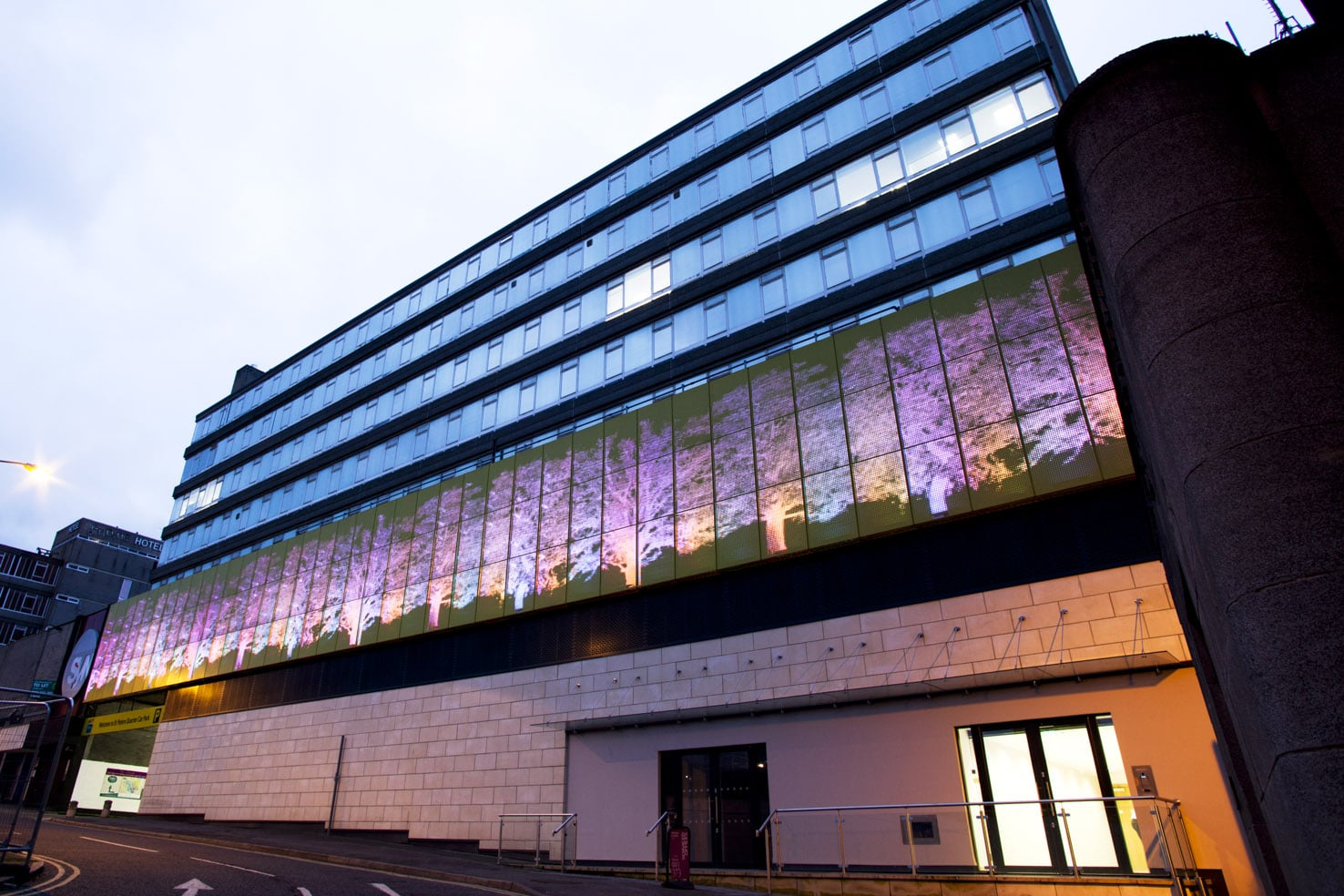 Citibase's centre on Colyear Street with giant LED-screen lit exterior