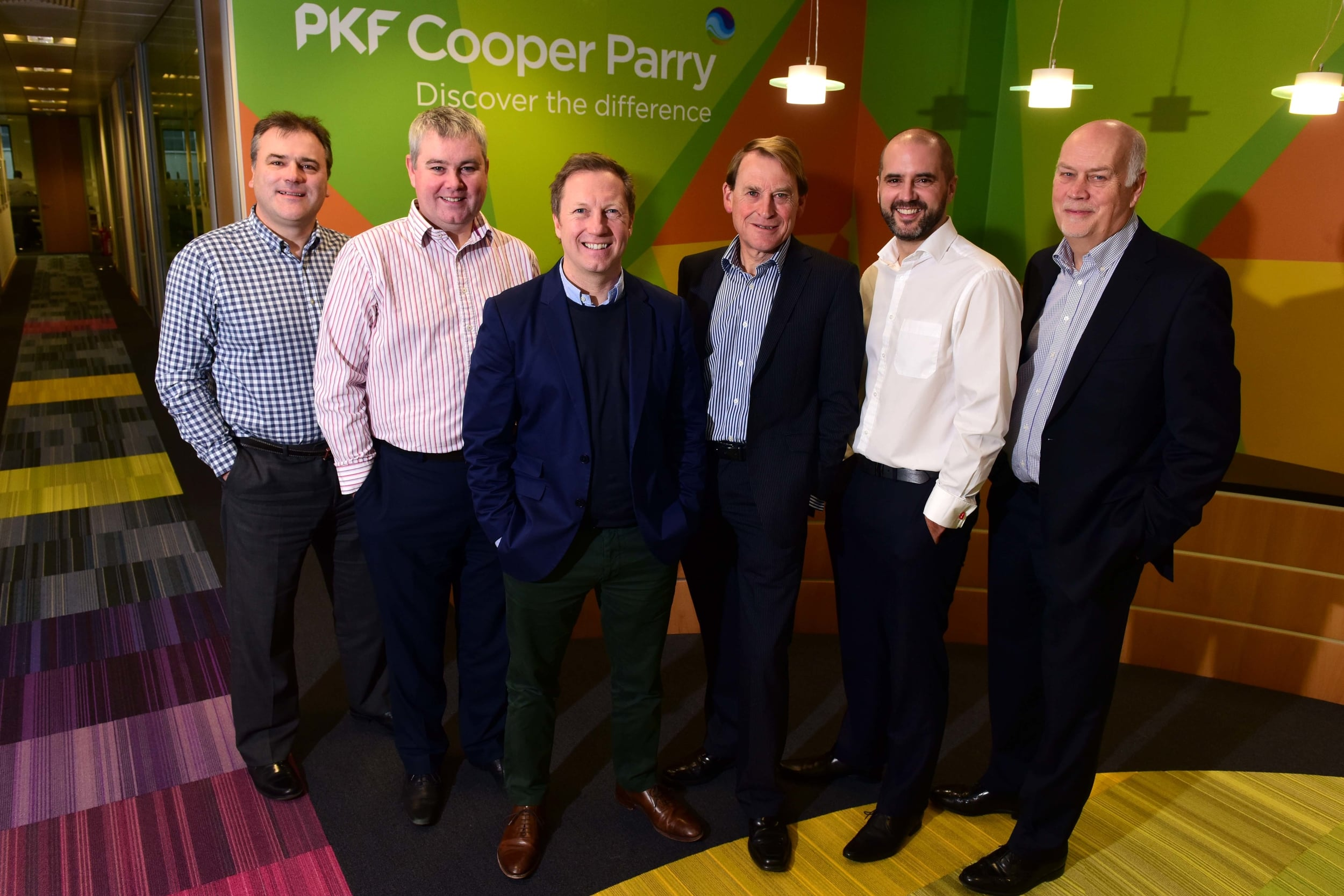 Left to right: Gavin Whitehouse and Ross Cocker (formerly of Clement Keys), Ade Cheatham (CEO of PKF Cooper Parry), Joe Bates (formerly of Clement Keys), Danny Parker and Jeremy Bowler