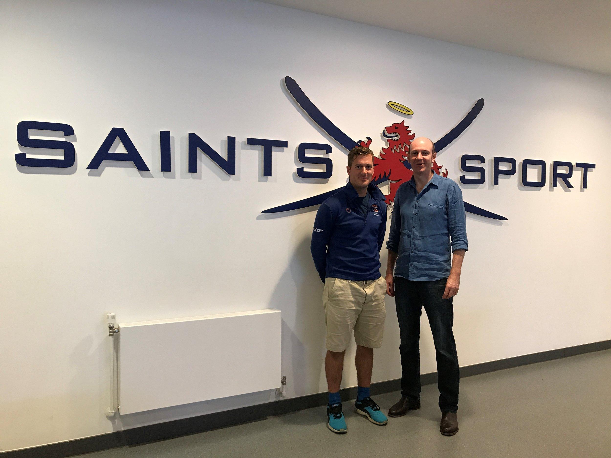 Saints Hockey Director Jamie Carnegie, left, with Burnthebook Director Phil Newson.jpg