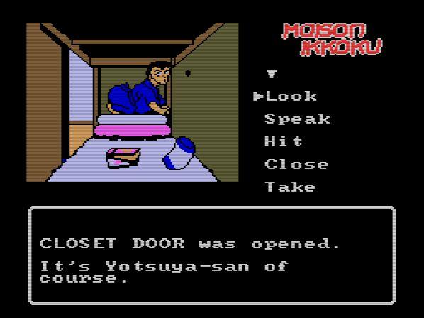Yotsuya in his element, turning Godai's closet into a peeping parlour.