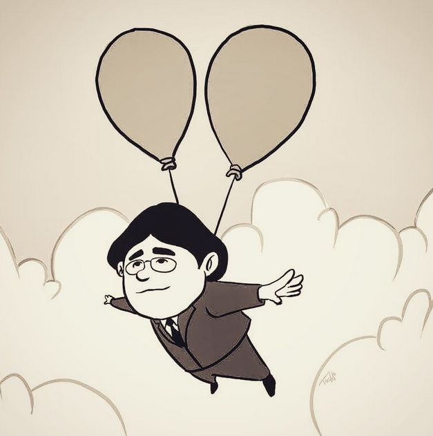 "Iwata's Balloon Flight ( from the instagram of Hidetaka ""SWERY65"" Suehiro )"