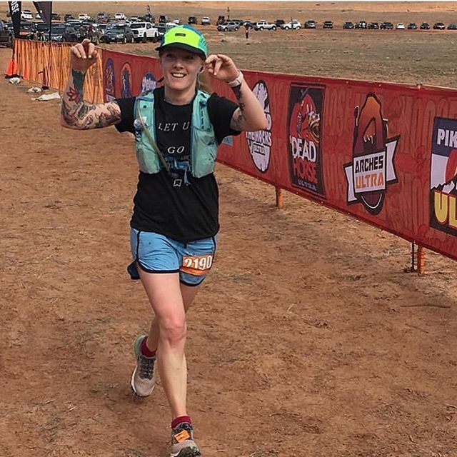Long-time Merit Endurance supporter @mouseswife (also owner of @the_stockist in SLC) just wrapped up a solid run at this last weekends #behindtherocks30k in Moab! Congrats Helen! Thanks for repping the shirt! #letusgorunning #meritendurance