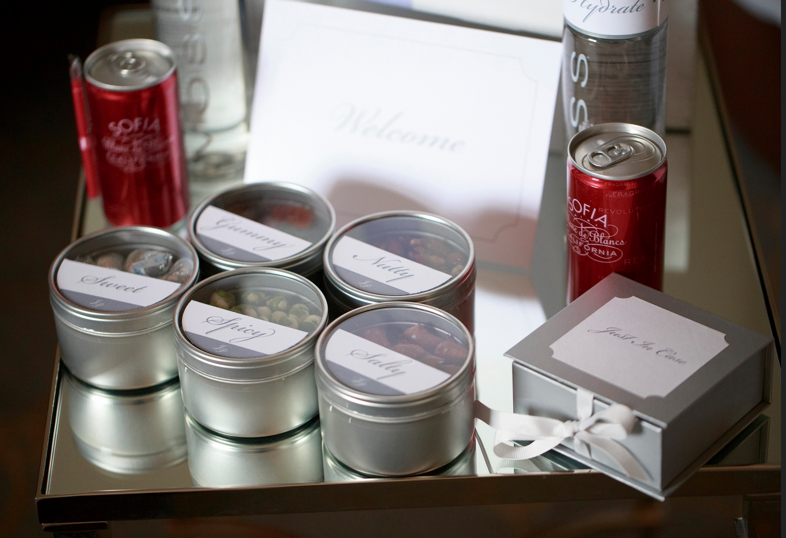 SILVER & WHITE WELCOME BOX CONTENTS