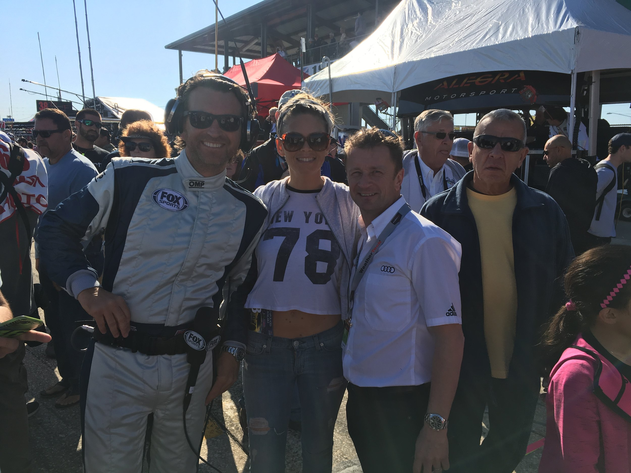 Found two of my favorite people to hang with in Pitlane just before the race. Alan McNish and Shannon! (the guy in the yellow isn't with us...)