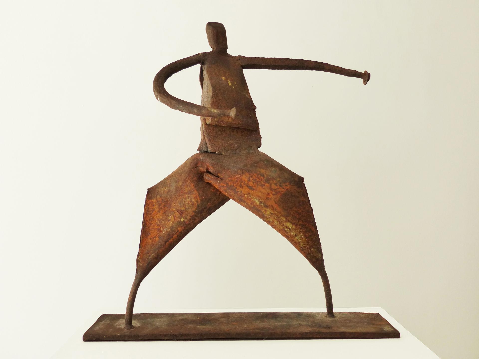 Die Kämpferin   warrioress  2007  Stahlschrott, geschweißt   scrapmetal, welded  38x38x8 cm  verkauft   sold