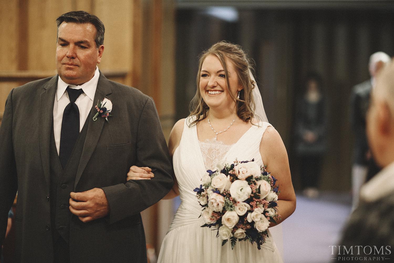 Bride Walking Down Aisle Kansas Wedding
