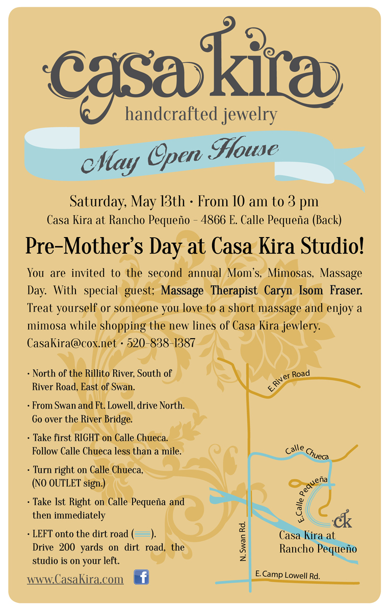 Moms, Mimosas, Massage and Jewelry..Oh My! Stop by the studio Saturday 13th. Enjoy a unique shopping experience! Sip mimosas, indulge in a shoulder massage by Caryn Isom Fraser, and treat yourself or someone you love to a piece of Jewelry from the latest Casa Kira line.