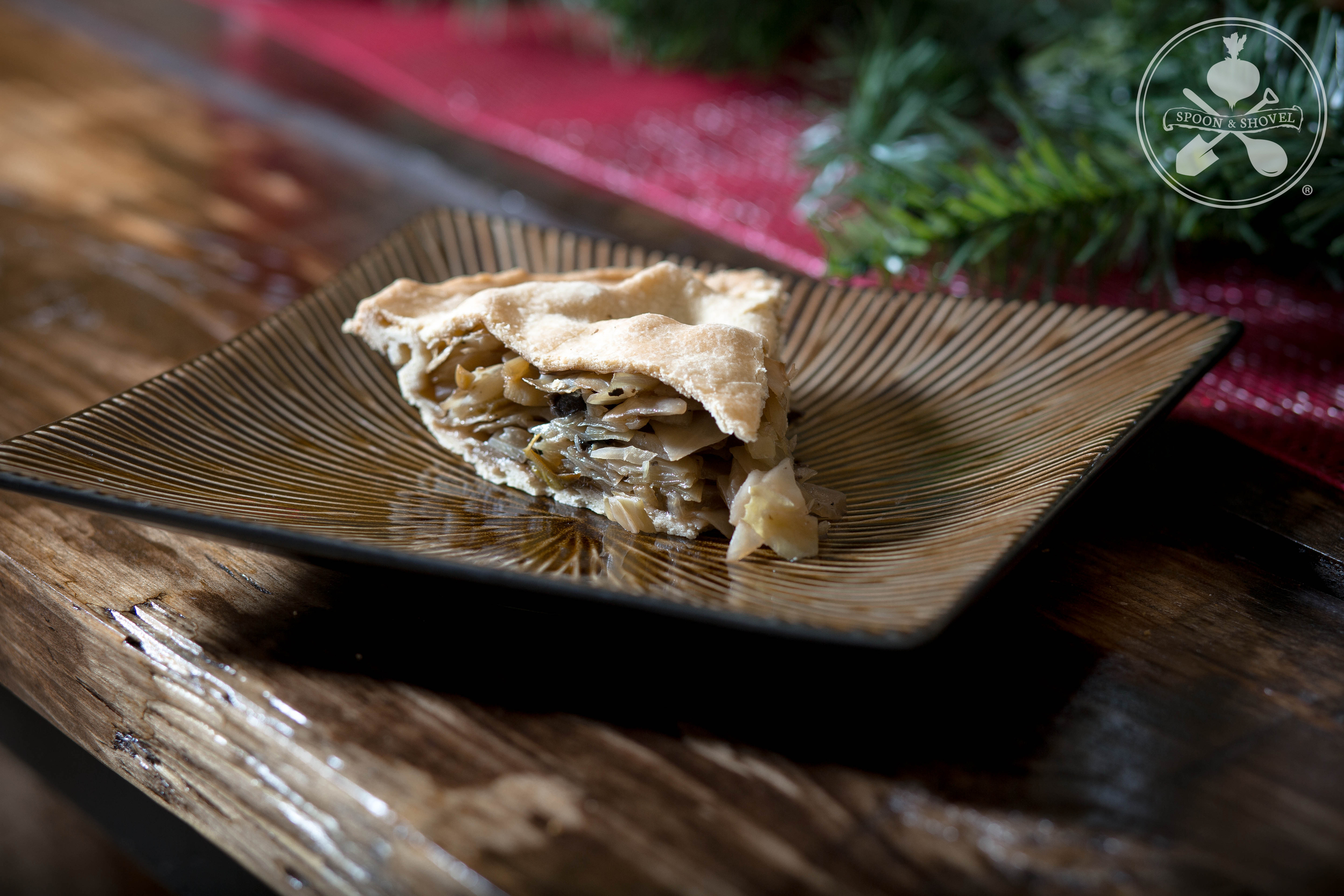 New Year's Day cabbage pie with leek, fennel and mushroom from The Spoon + Shovel