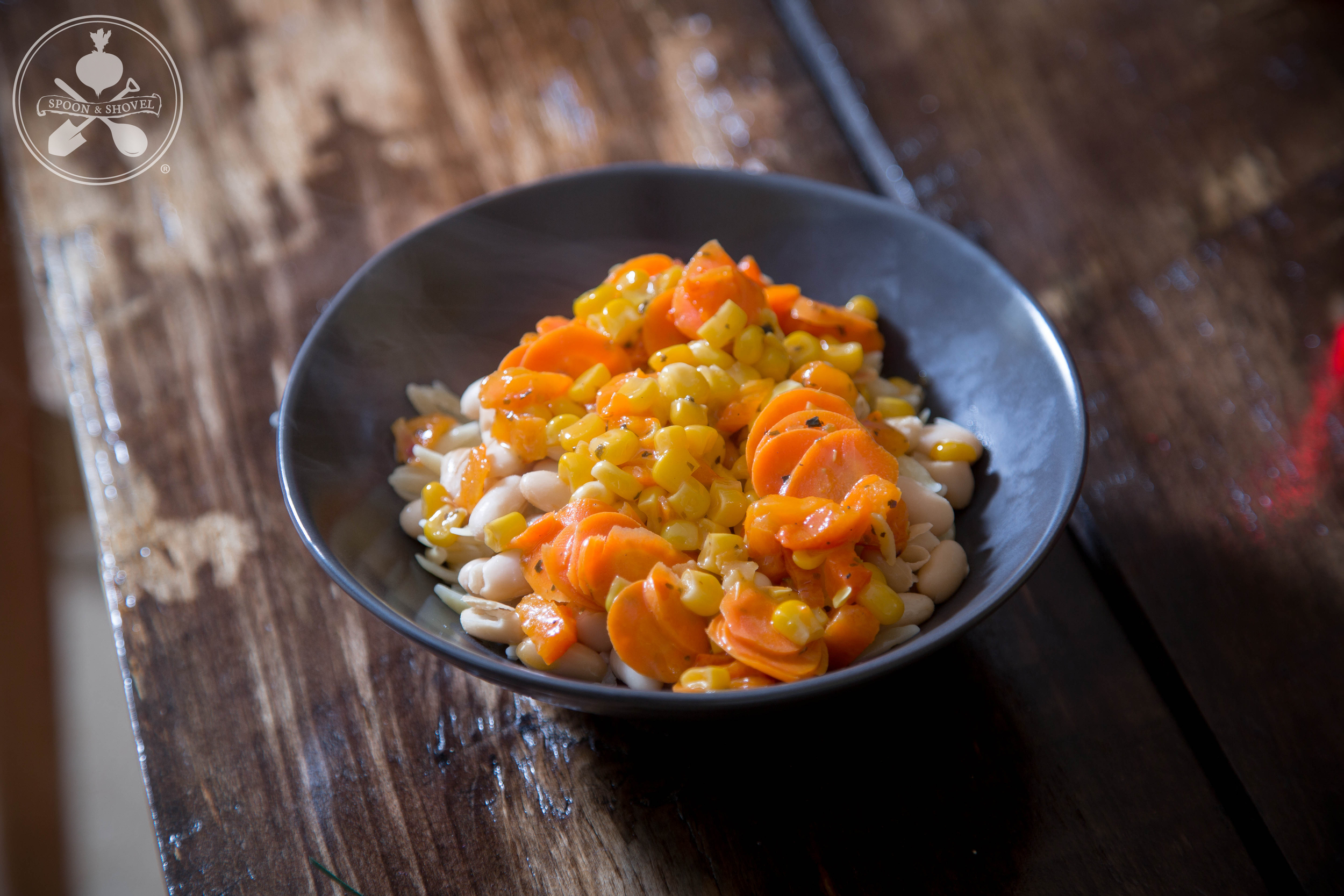 Veganorzo with sweet glazed veggies and white beans from The Spoon + Shovel