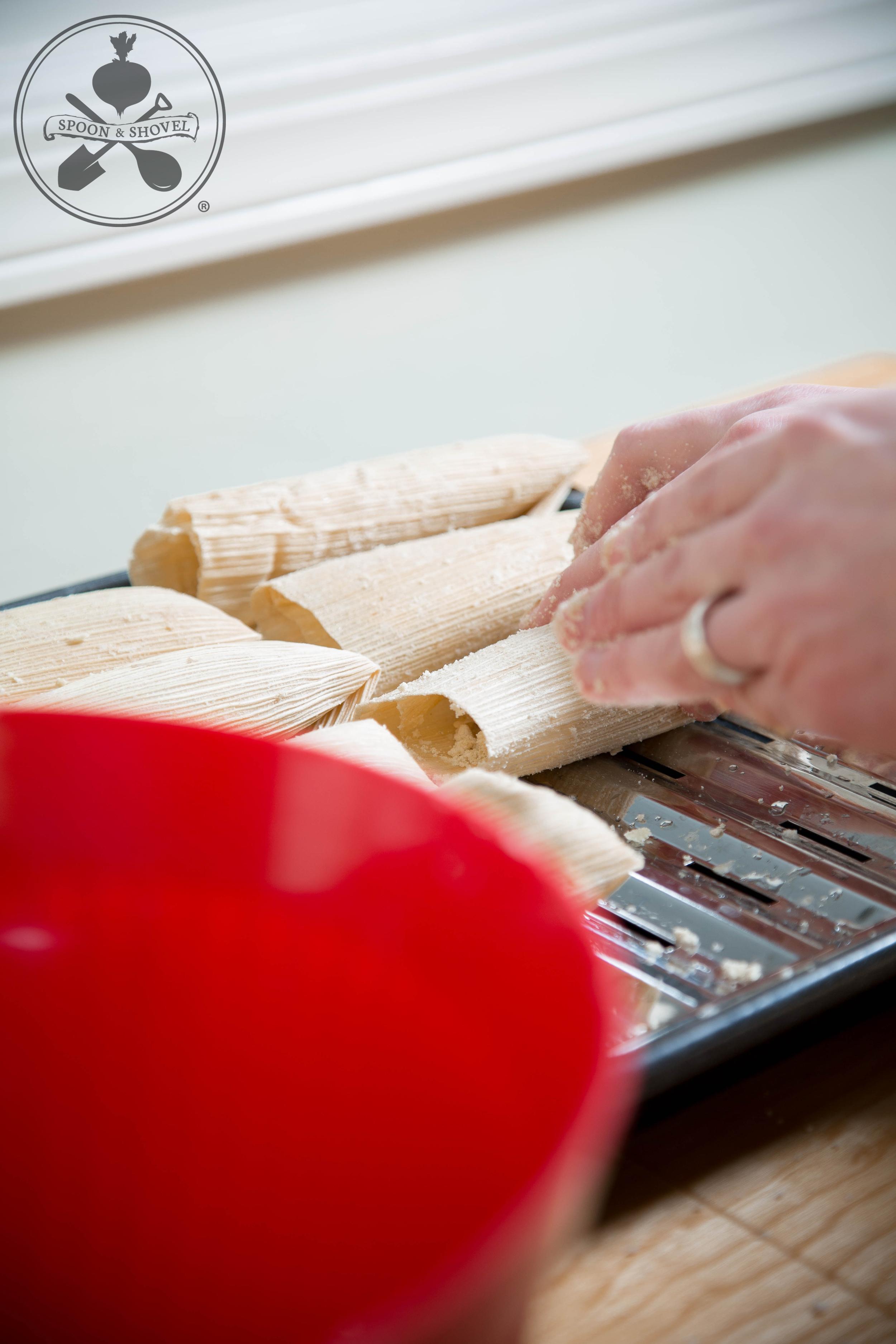 Vegan, GF jackfruit tamales  from The Spoon + Shovel