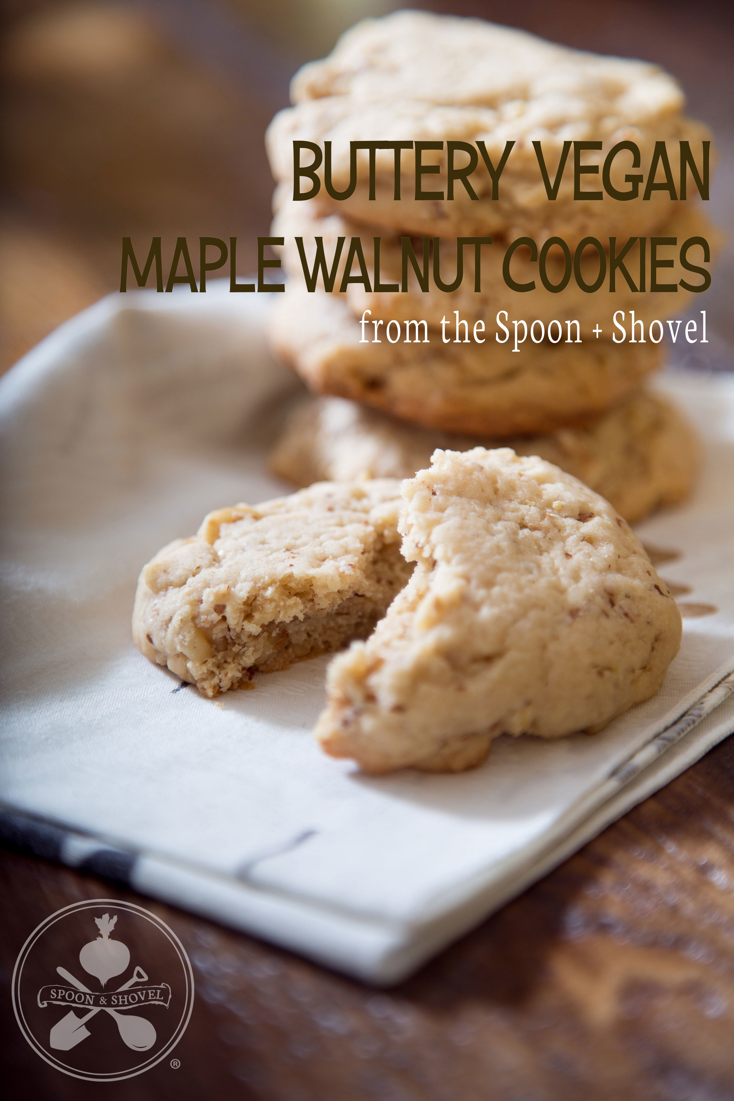 Buttery vegan maple walnut cookies from The Spoon + Shovel