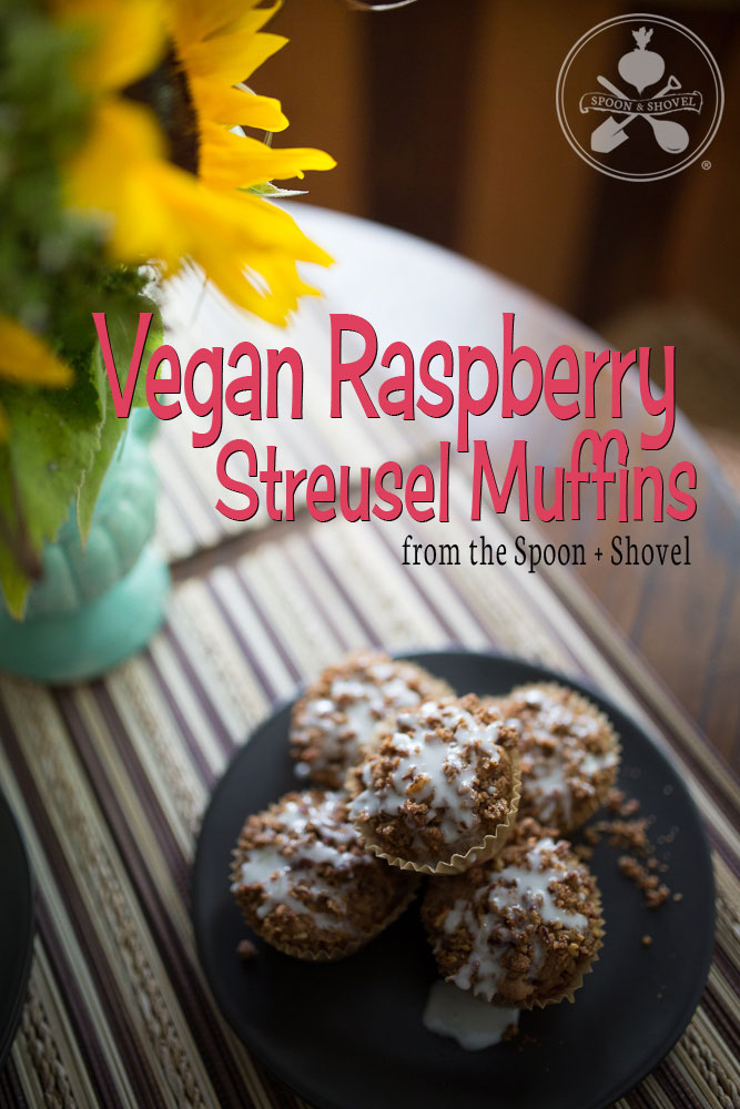 Vegan raspberry streusel muffins from The Spoon + Shovel