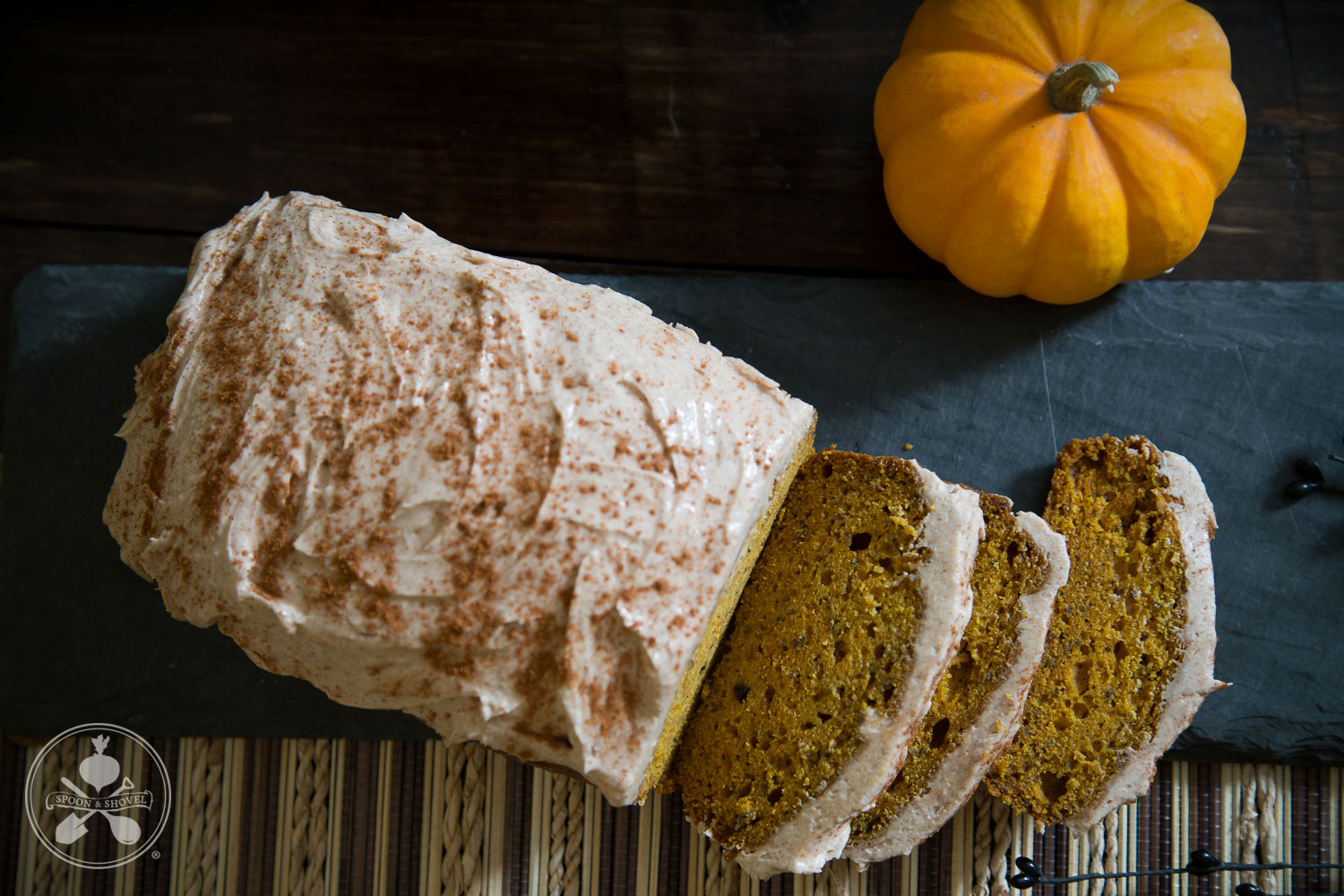 Cinnamon-frosted vegan pumpkin bread from The Spoon + Shovel