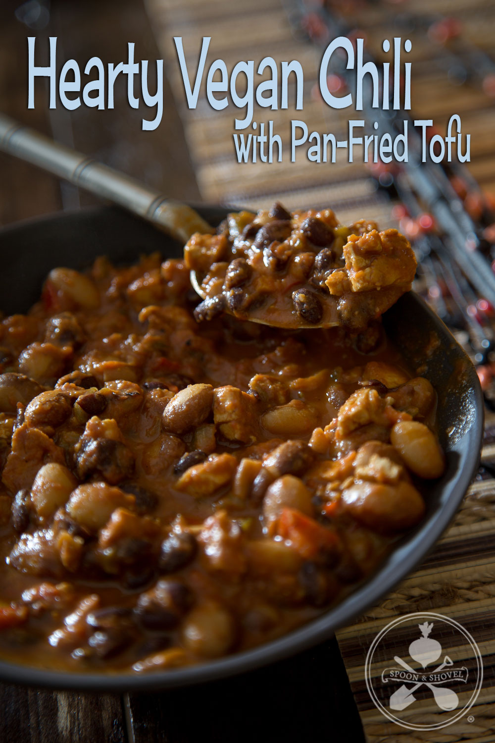 Hearty vegan chili with pan-fried tofu from The Spoon + Shovel
