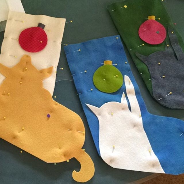 New pet stockings in the works for upcoming trunk show at @theloveliestcompany ! Very excited🤓#Christmasstockings#christmasstockingsfordogs#christmasstockingsforcats#holiday2016
