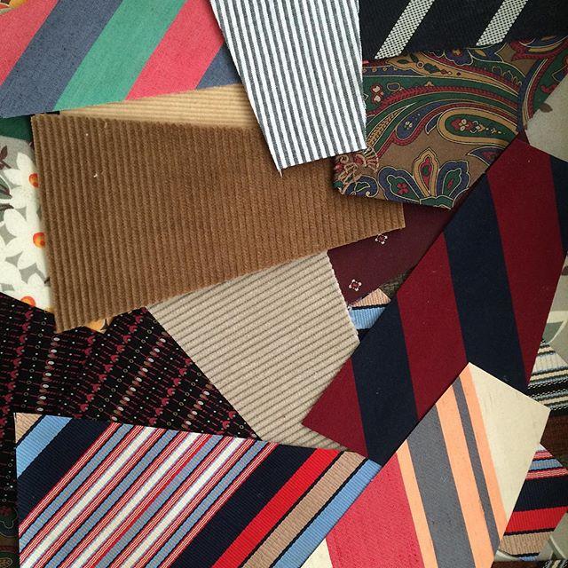 Seersucker, cords and neck ties#redllamastudio #modernquilt #necktiequilt#moderndresden