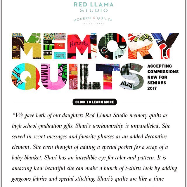 Now accepting commissions for Class of 2017 custom memory quilts! Go to redllamastudio.com for FAQ's on the process or email shari@redllamastudio #moderntshirtquilts#bestgiftever #cozy