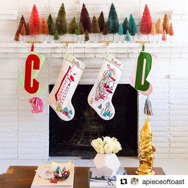 """How beautiful is this mantle from @apieceoftoast ?!? Red Llama Studio stockings look outstanding mixed with needlepoint heirloom stockings. ------- #Repost @apieceoftoast with @repostapp ・・・ """"The stockings were hung by the chimney with care..."""" 🎄Direct link to post in bio! http://liketk.it/2pWH3 @liketoknow.it #liketkit 🎄 #Stoastsister"""