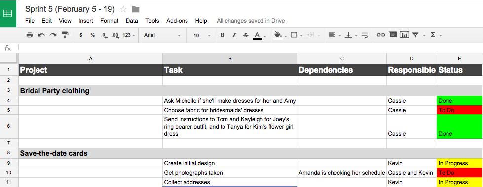 Sprint board made using a Google spreadsheet