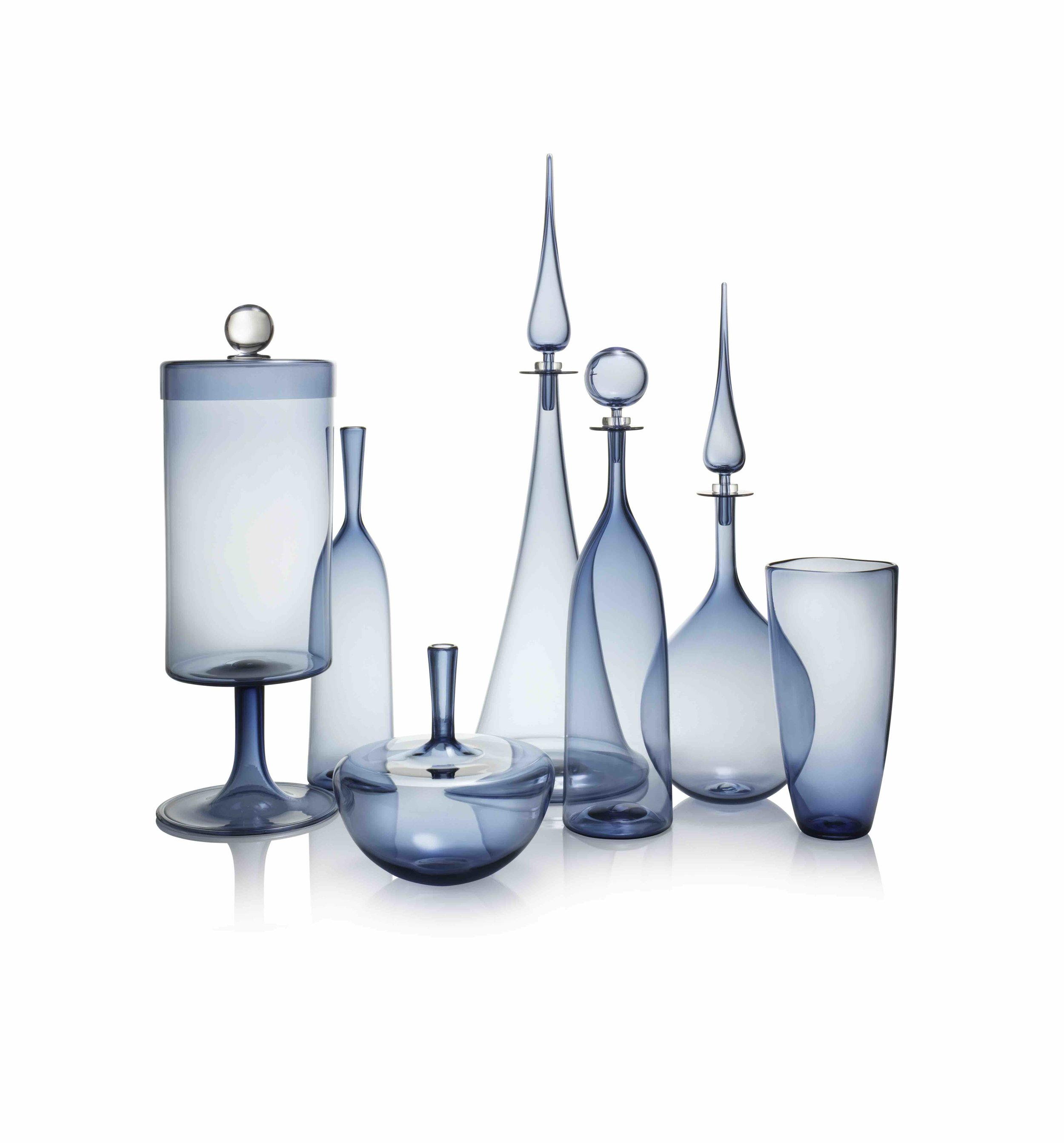 ICE BLUE GROUP: APOTHECARY JAR, ANGELIC BOTTLE SMALL & ARC,LARGE DECANTER FLUTED CONE, PETITE DECANTER TALL BOTTLE, PETITE DECANTER TEAR DROP, ANGELIC VESSEL VASE