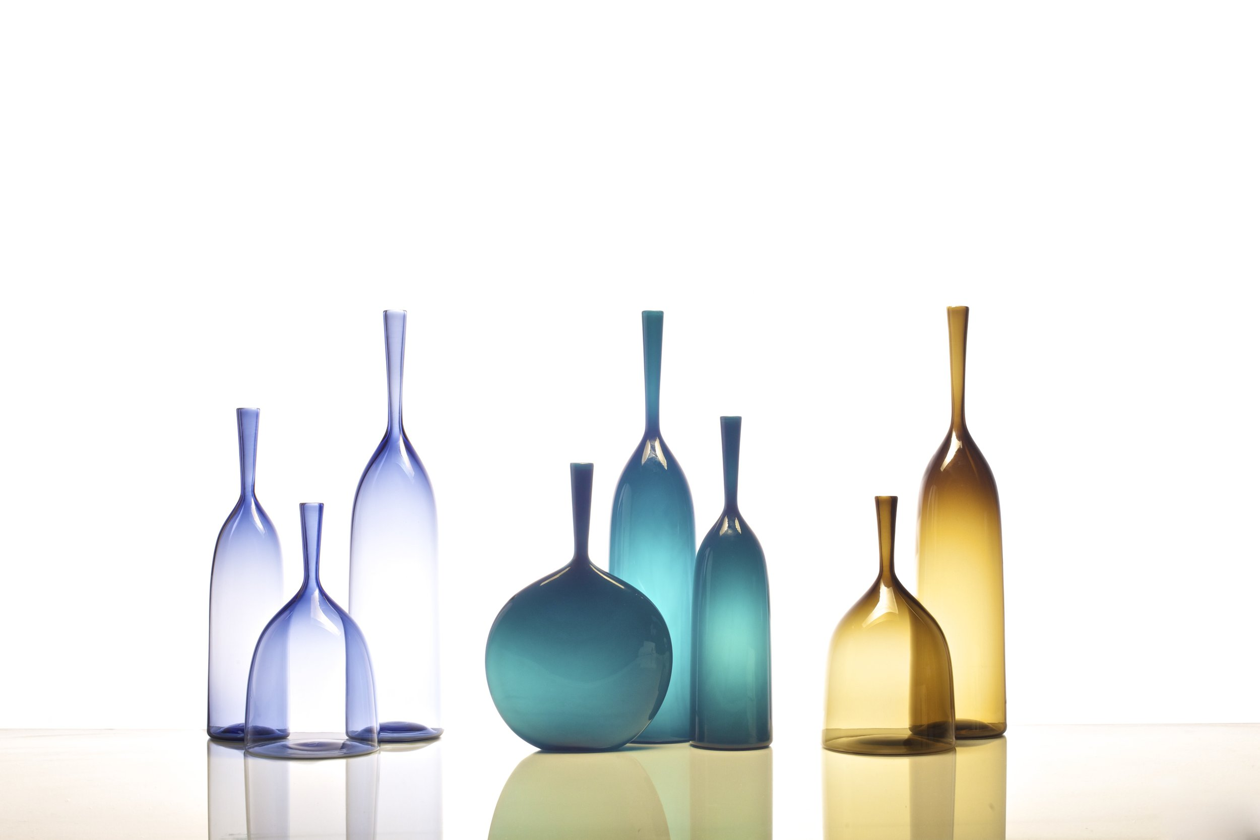 ANGELIC BOTTLES: SMALL, WIDE, LARGE IN ICE BLUE, FLASK, LARGE, SMALL IN AZURE, WIDE & LARGE IN TOPAZ