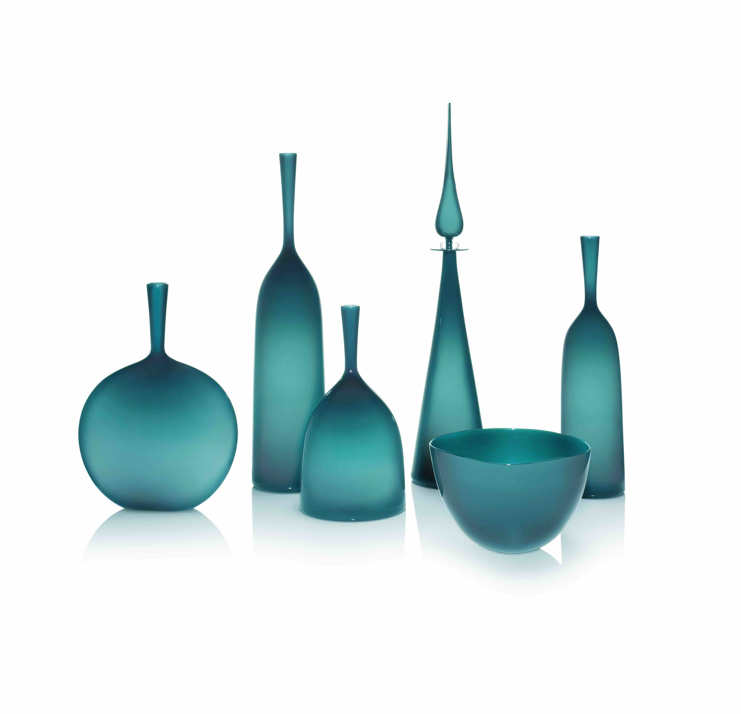AZURE GROUPING: ANGELIC FLASK, LARGE, WIDE, PETITE DECANTER STRAIGHT CONE, ANGELIC VESSEL BOWL, SMALL ANGELIC BOTTLE